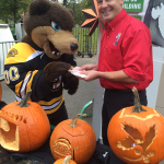 Magic with Blades the Boston Bruins mascot